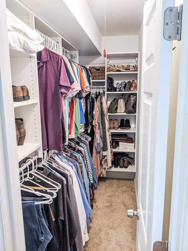 Closet after cleaning, organizing, and decluttering