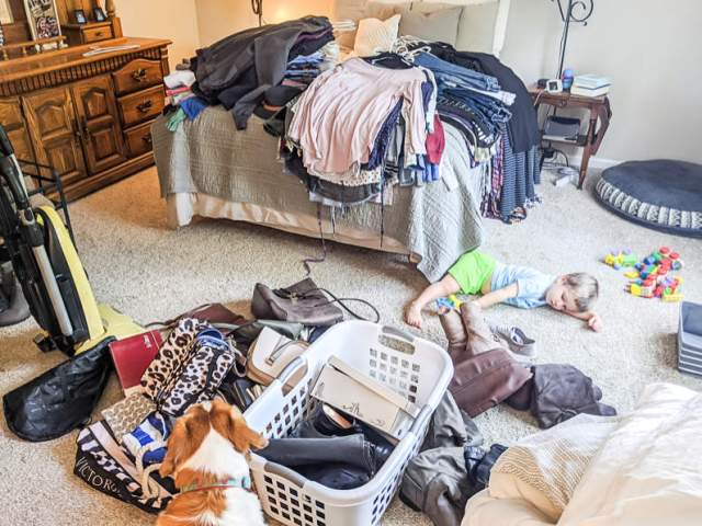 Marie Kondo inspired closet emptying