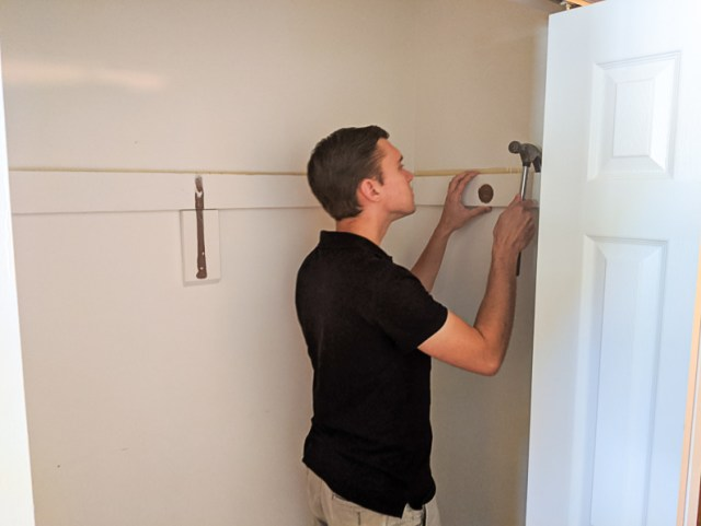 Removing old coat closet shelf