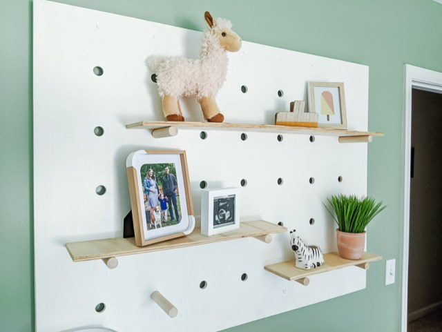 Giant pegboard wall shelf