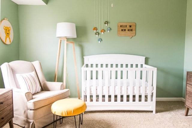 Wall art over crib, DIY floor lamp, glider with ottoman