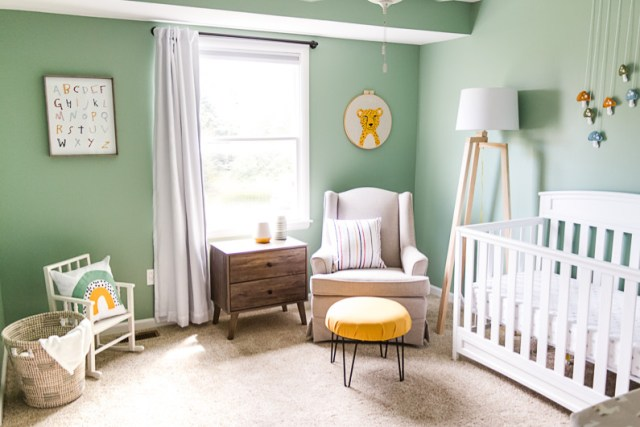 Baby boy colorful teal nursery, whimsical, fun