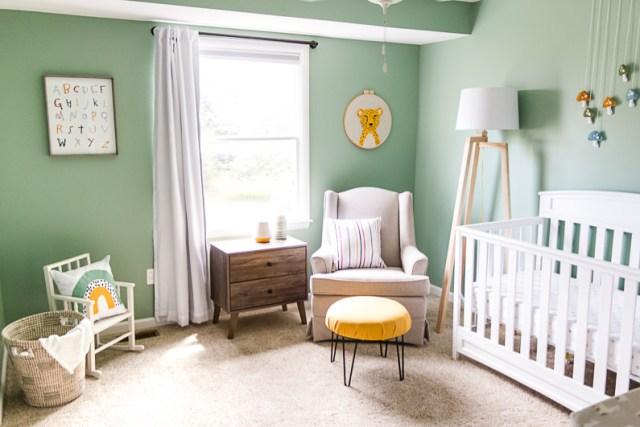 Baby boy colorful teal nursery, whimsical, fun