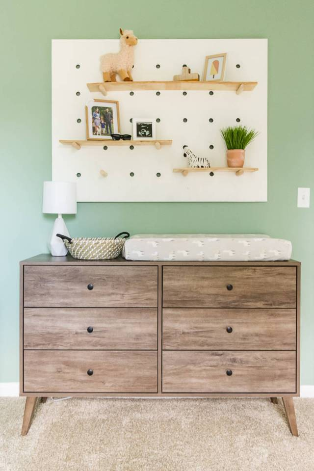 Wayfair mid century modern dresser changing table, mini lamp from Amazon, DIY giant pegboard wall shelf