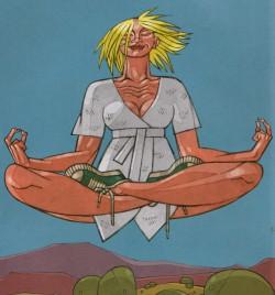 Tank Girl meditating