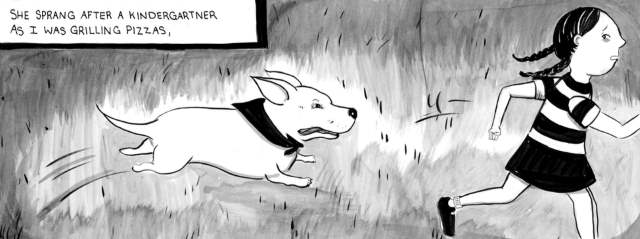 Beija chases a child in Fetch: How a Bad Dog Brought Me Home by Nicole J. Georges