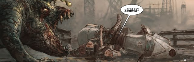 Judge Fairfax crashes his motorbike in Kek-W and Dave Kendall's The Dark Judges: The Fall of Deadworld