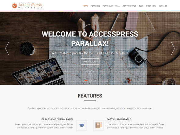 AccessPress Parallax Free Arabic WordPress Themes