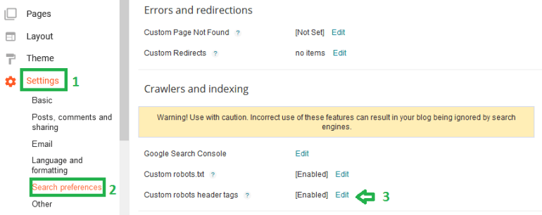enabling custom robots header tags in blogger