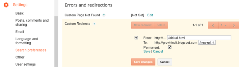 redirecting old url to new url in blogger