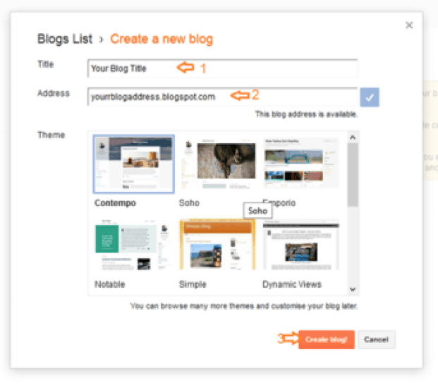 Entering Blog title and address to create a blog