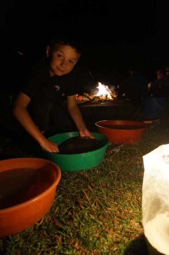 Washing up at the camp