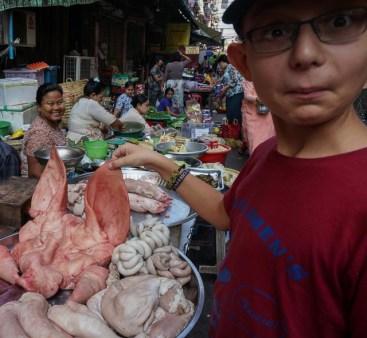 A pig face in a Yangon street market