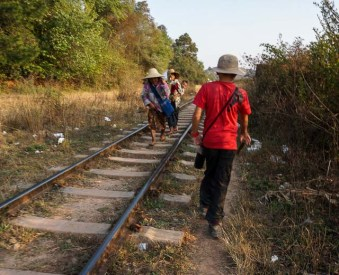 Hill tribes using the railway