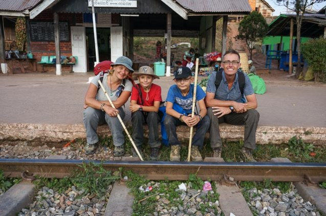 Taking a rest at a train station on the trek to Inle Lake