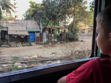 Train to Kyaito passing villages