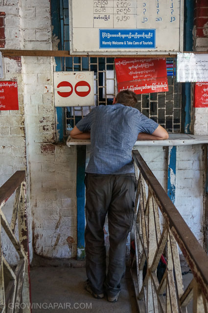 Buying train tickets in Yangon