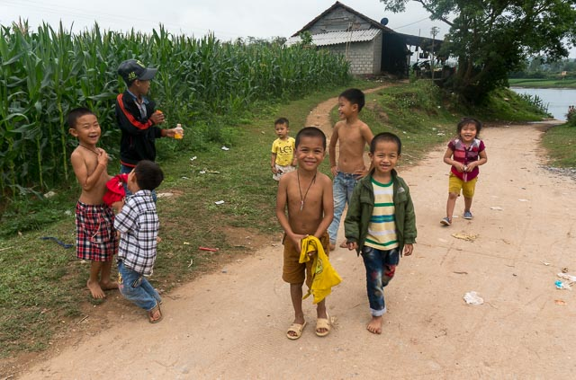 Local kids in a Phong Nha village, Vietnam