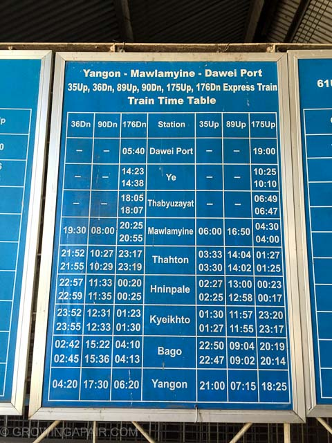 The train timetable in Yangon ticket office