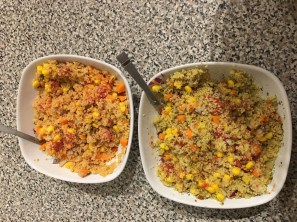 vegetables mixed in with the couscous