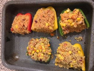 Couscous stuffed bell pepper.