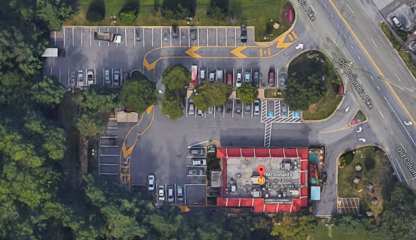 Aerial view of existing conditions at the Burtonsville McDonalds