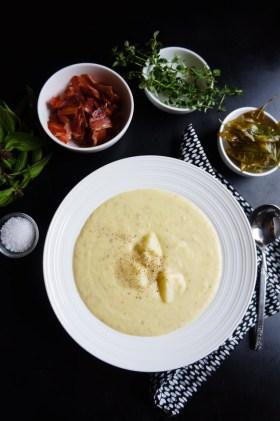 Potato, Zucchini + Bacon Soup | Gluten Free, Low FODMAP | Growing Home