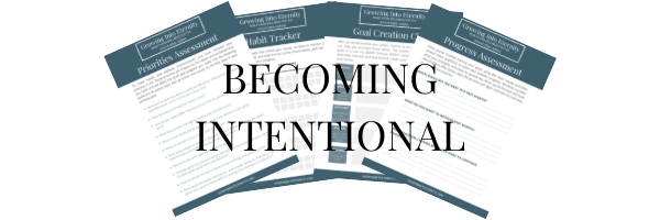 Becoming Intentional FREE Packet includes the priorities assessment, habit tracker, goal creation chart, and progress assessment