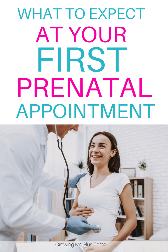 Pinnable Pinterest image of pregnant woman at doctor's office with text 'what to expect at your first prenatal appointment'