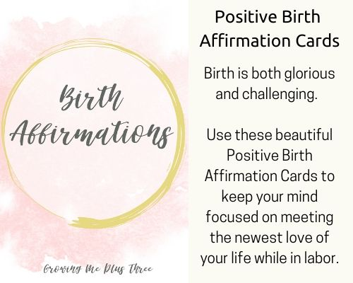 Image of positive birth affirmation cards available in the shop's site