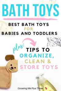 pinterst image with bath toys pictured and text 'bath toys: best bath toys for babies and toddlers plus tips to organize, clean and store toys'