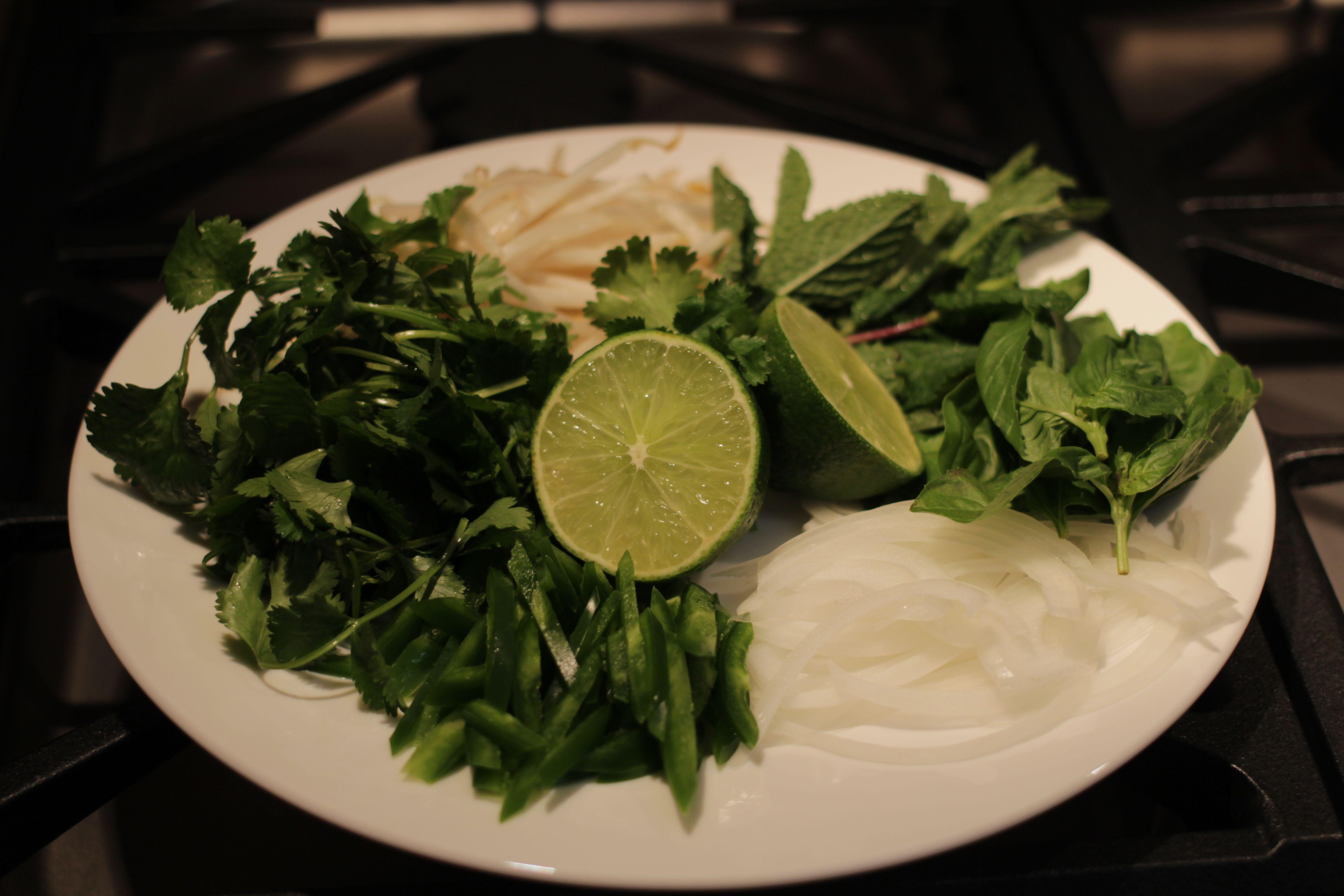 Onion, jalapeño, mint, basil and mung beans