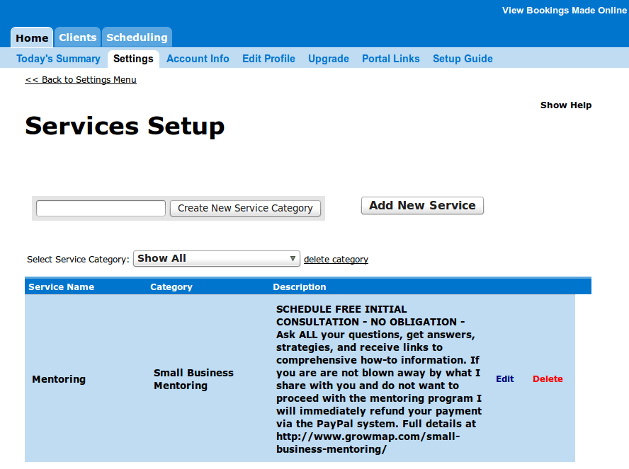 Online Appointment Scheduling Services Setup