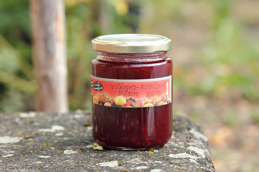 Sour cherry and redcurrant jam