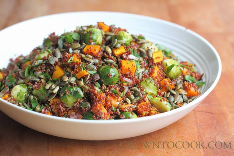brussels sprouts, winter squash and quinoa salad