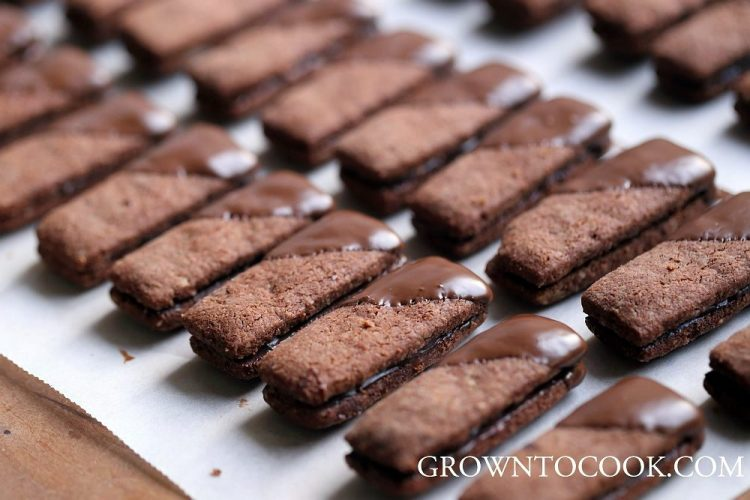 Chocolate almond cookies filled with cardamom ganache