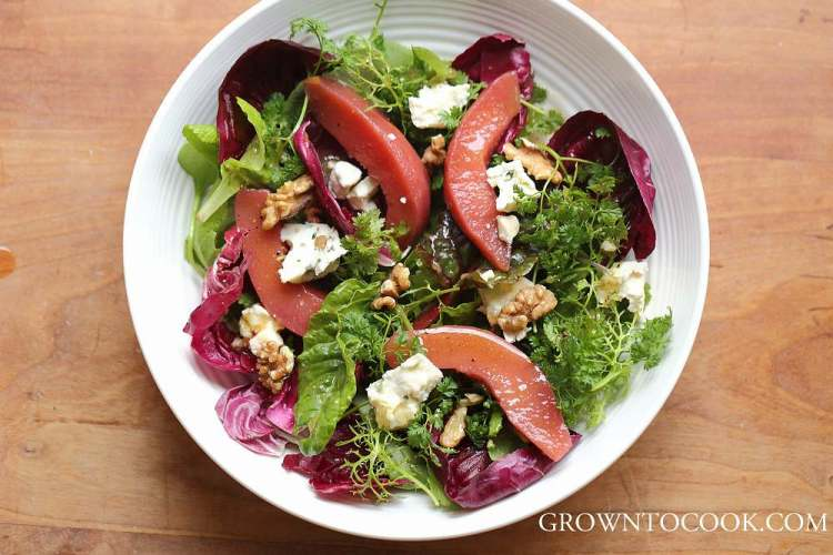 winter greens with poached quince salad