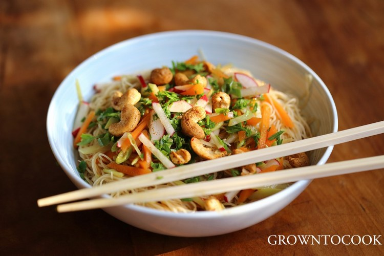 Chinese noodle salad with citrus and spice cashews