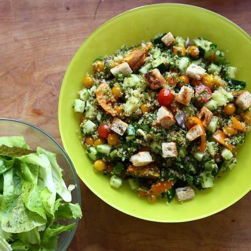 quinoa and sourdough salad