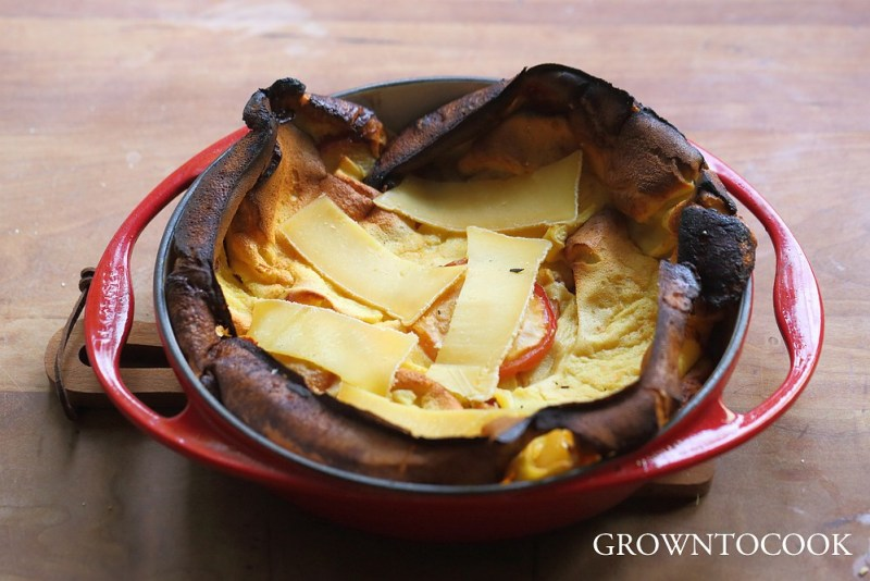 souffleed pancake with caramelized apples and cheese