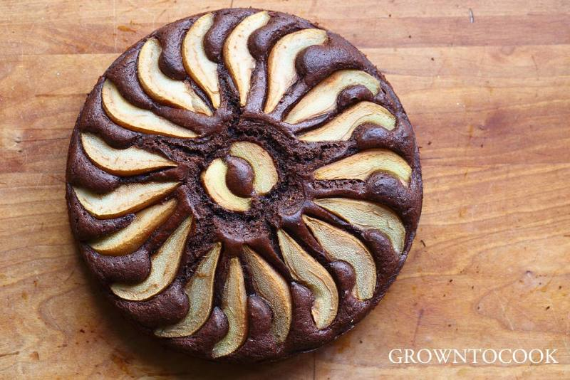 chocolate pear spelt honey cake