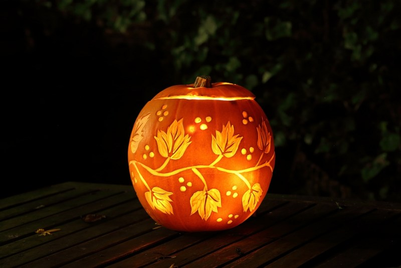 leaves carved pumpkin