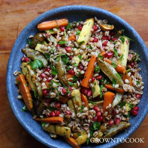 farro salad with roasted root vegetables