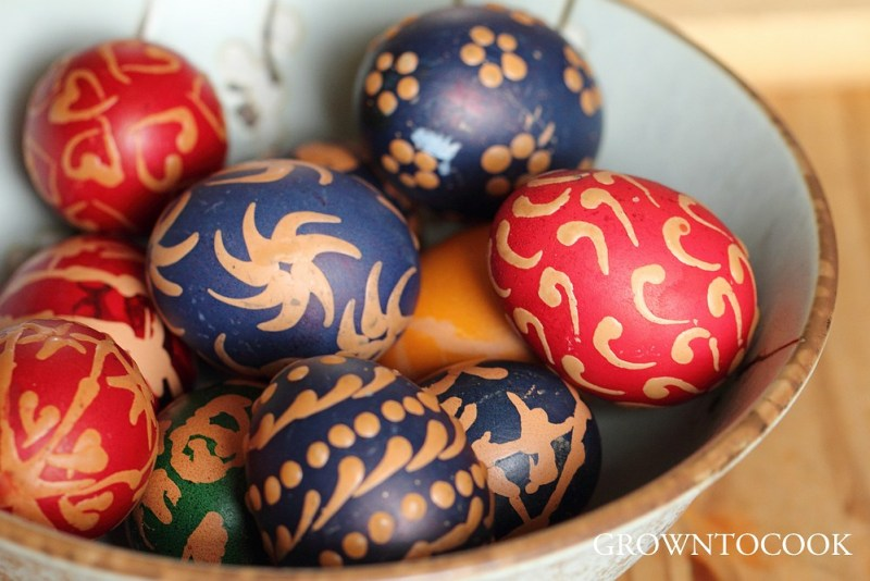 Easter eggs decorated with bees wax
