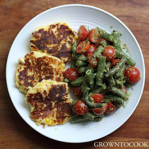 corn ricotta cakes with beans