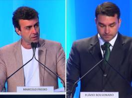 Marcelo Freixo (PSOL) e Flávio Bolsonaro (PSC) durante debate dos candidatos à Prefeitura do Rio, realizado pela RedeTV