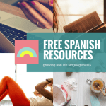 girl reading book, cooking utensils and food, woman on exercise mat, phone in hand with text free spanish resources
