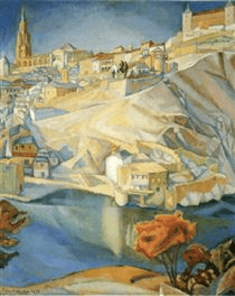 View of Toledo by Diego Rivera village on top of white sloping hillside with waterfront