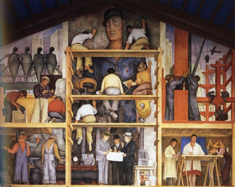 The Making of a Fresco Showing the Building of a City - Diego Rivera, 1931