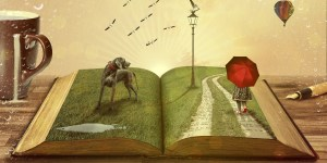 open book page with grass and path with person holding umbrella and dog, book on table with mug